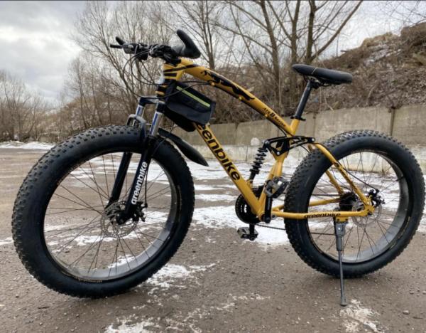 Двухподвесный фэтбайк Green Bike ягуар золотой
