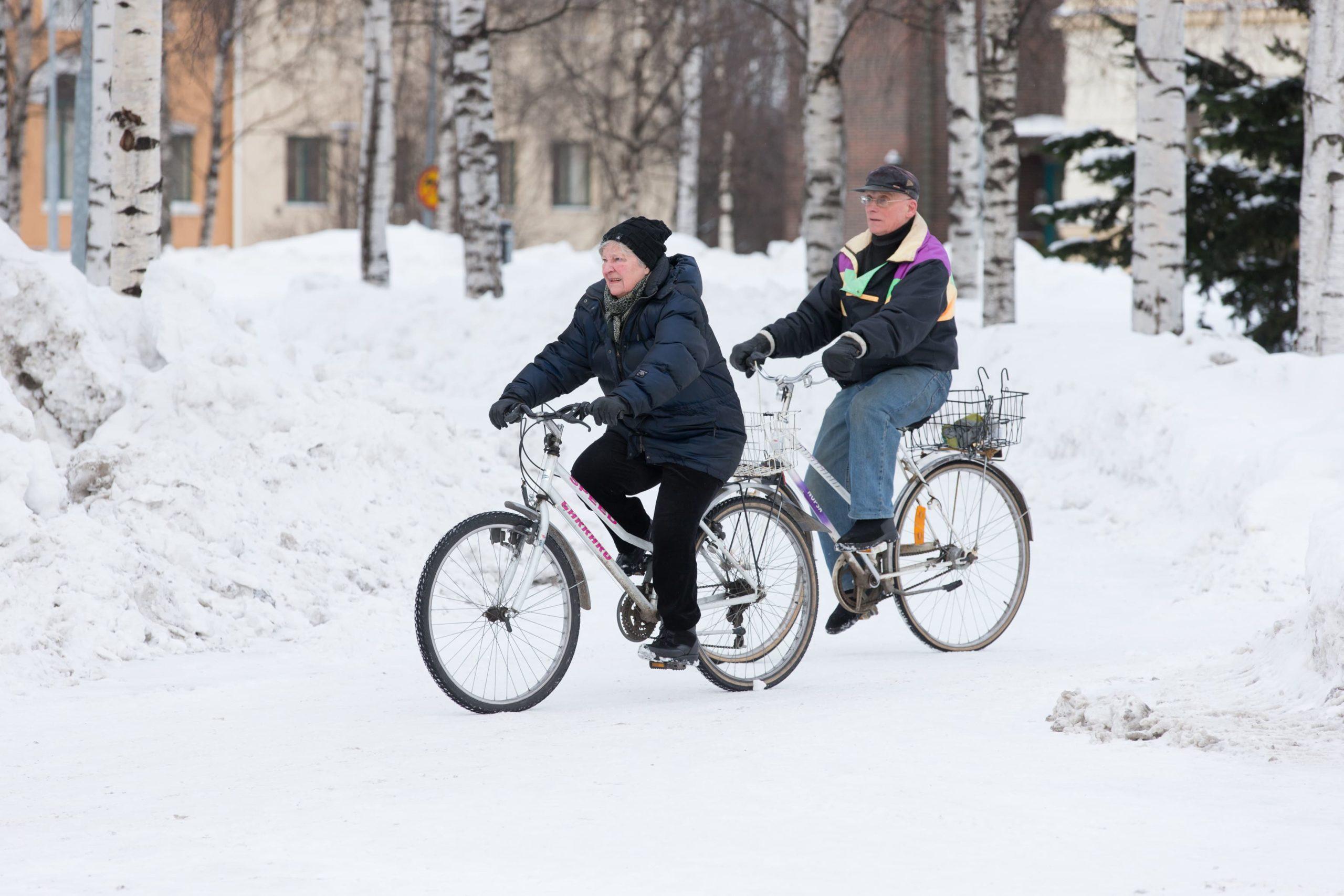 катание на велосипеде зимой