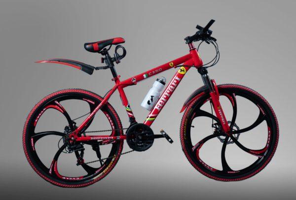 Велосипед на литых дисках Ferrari красный