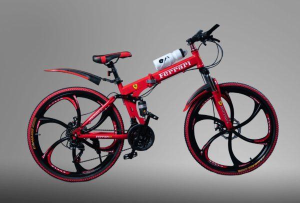 Велосипед на литых дисках складной Ferrari Красный