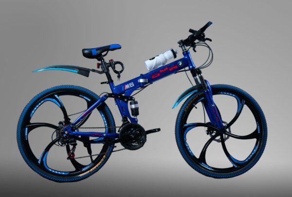 Велосипед складной BMW синий на литых дисках
